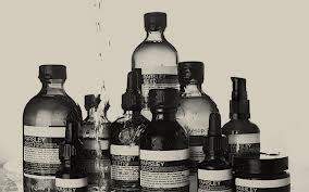 Aesop bottle line up artistic shot