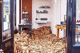 Aesop store with leaves on ground sculpture 1