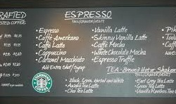 Starbucks menu board