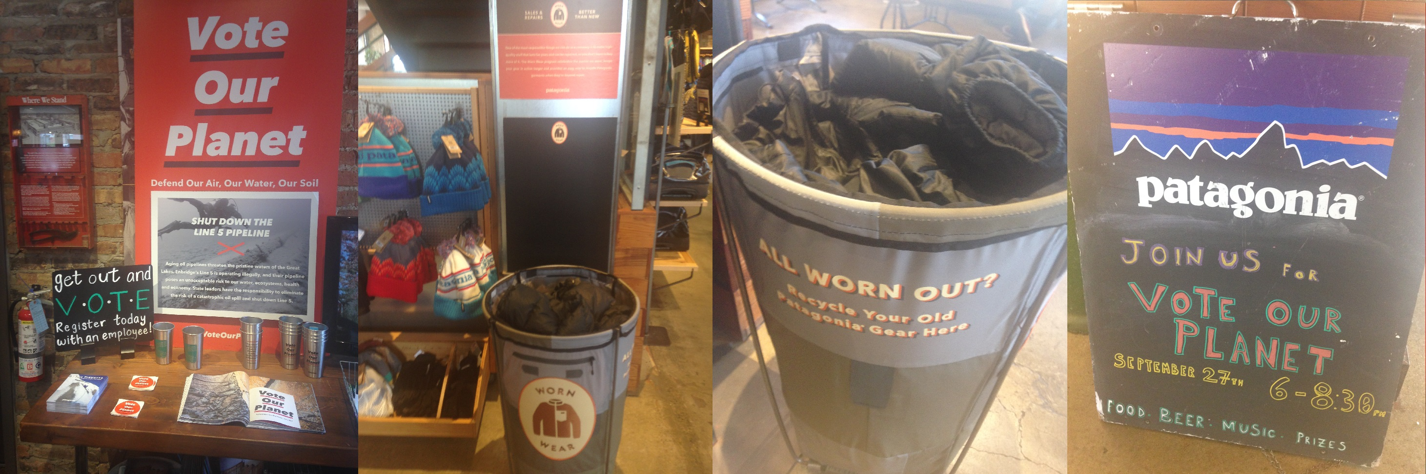 Patagonia Activism in a Chicago store. A call to help save the air, earth, water and recycle your worn gear.